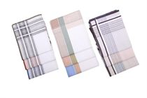 A set of light multicolored woven ( or full white ) men´s handkerchiefs in a polybag - 6 pcs ( code M 11 )