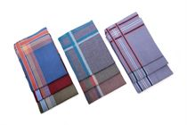 A set of dark multicolored woven men´s handkerchiefs in a polybag - 6 pcs. ( code M12 )