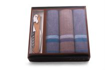 Gift box of quality men´s handkerchiefs in practical packaging along with knife-wine opener - 3 pcs. ( code M24 )