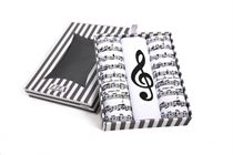Gift box ladies´ handkerchiefs with hand printed musical motives in an exclusive box with hanger - 3 pcs ( code L 59 )