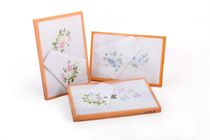 A set of ladies embroidered handkerchiefs - one with lace + one without laces in the box - 2 pcs ( code L 15 )