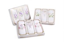 Gift set of ladies embroidered handkerchiefs - one with lace + two without laces in a traditional box Exclusive - 3 pcs ( code L 25 )