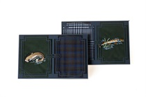 Gift set of men´s handkerchiefs - a combination of one embroidered and one multicolored woven in a box. Hunting (roe deer, deer, horn, grouse, pheasant), Fishing (catfish, pike, perch), Sport (golfer, tennis player) motives - 2 pcs. ( code M18 )