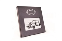 Gift hand-printed men´s handkerchief in Vintage Style with motive car - 1 pc. ( code M35 )