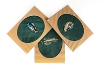 Gift box with one embroidered handkerchief - fishing motive (catfish, pike, perch) - 1 pc. ( code M48 )