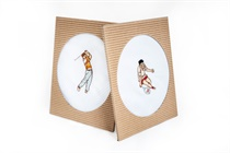 Gift box with one embroidered handkerchief - sport motive (golfer, tennis player) - 1 pc. ( code M48 )