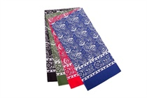 Head scarf - cashmere pattern, color: black, red, blue, green; Size 70x70 cm (code B 01)