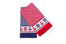 Children's scarf - navy pattern, color: red, blue; Size 55x55 cm (code B 02)