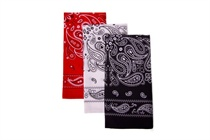 Children's scarf - cashmere pattern, color: black, red, white; Size 55x55 cm (code B 02)