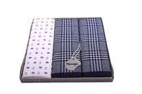Gift set men´s luxury handkerchiefs - one hand printed in color with the two multicolored woven - 3 pcs. ( code M39 )